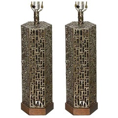 Pair of Marcello Fantoni Brutalist Bronzed Brass Torch Cut Hexagon Table Lamps