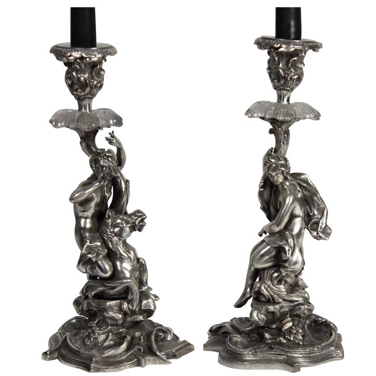 Pair of French Silver Candlesticks For Sale