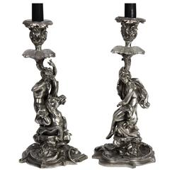 Pair of French Silver Candlesticks
