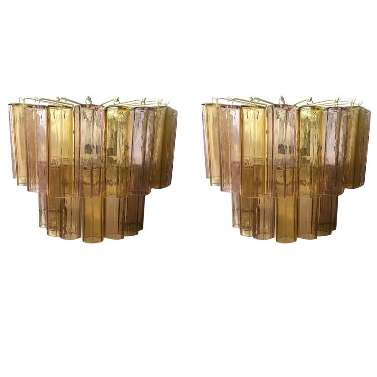 Pair of Vintage Hexa Murano Glass Wall Lights For Sale at 1stdibs
