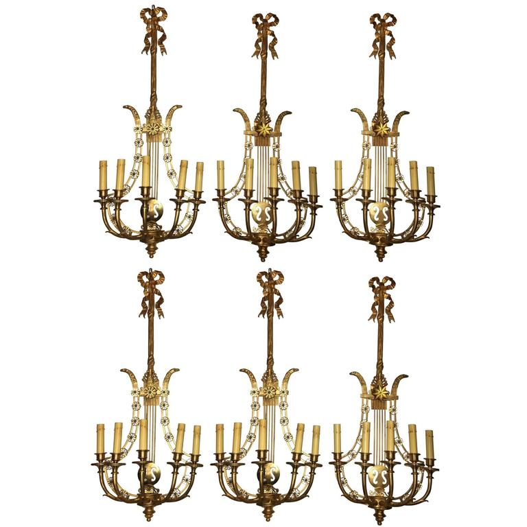 Group of Six Louis XVI Style Harp Back Bronze Wall Sconce