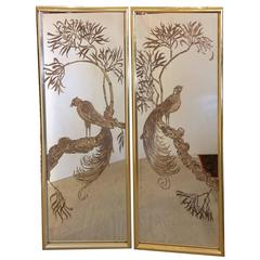 Glitzy Pair of Églomisé Brass Framed Etched Mirror Panels