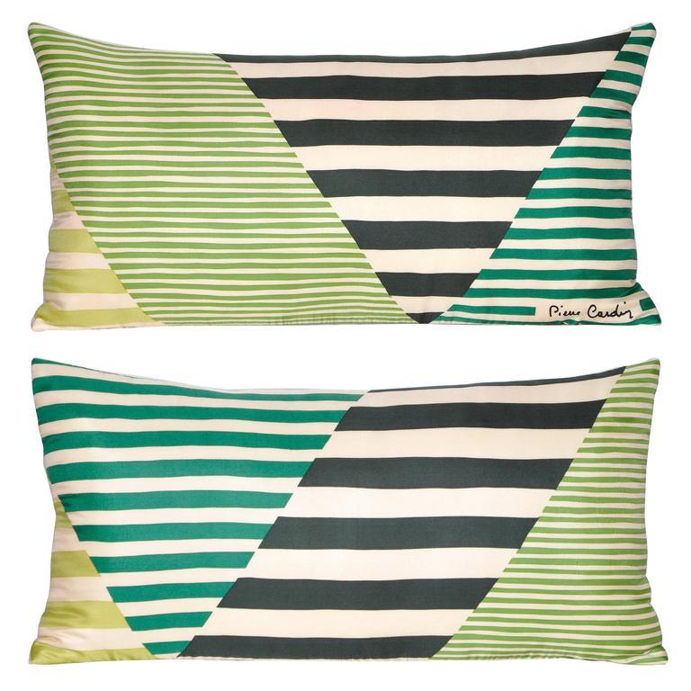 Pair of Vintage Pierre Cardin Green Geometric Silk with Irish Linen Pillows