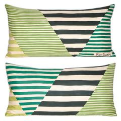 Pair of Vintage Pierre Cardin Green Geometric Silk with Irish Linen Pillows
