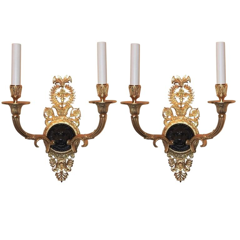 Wonderful French Empire Gilt Patina Bronze Lions Head Neoclassical Sconces, Pair For Sale