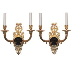 Wonderful French Empire Gilt Patina Bronze Lions Head Neoclassical Sconces, Pair