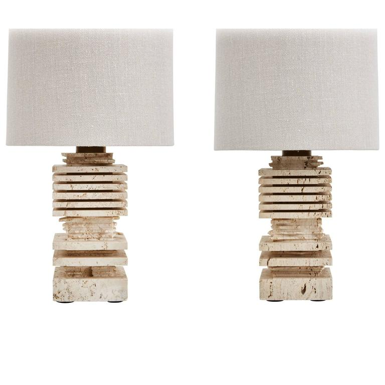 Pair of Carved Italian Travertine Table Lamps For Sale
