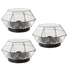 Three Large Geometric Black & Clear Glass Flush Mount Lights by Limburg, 1970s