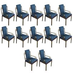 Set of Twelve Modern Mastercraft Brass Greek Key Dining Chairs
