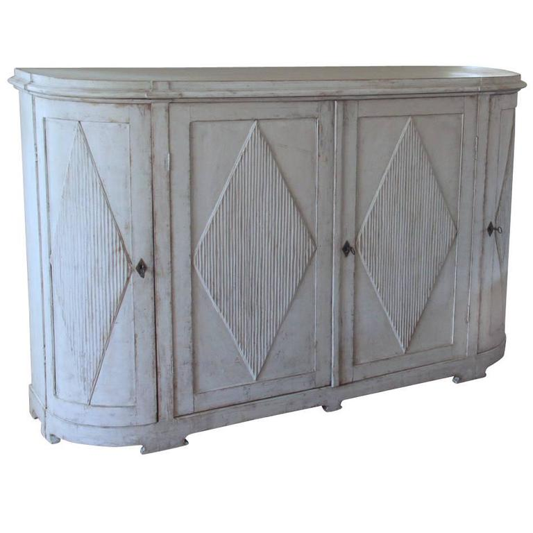 19th Century Swedish Gustavian Painted Sideboard Cabinet with Reeded Lozenges 1