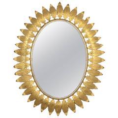 Huge Oval Spanish Gilt Iron Leafed Sunburst Mirror