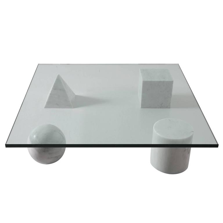 Massimo And Lella Vignelli 39 Metaphora 39 Coffee Table In Marble And Glass At 1stdibs