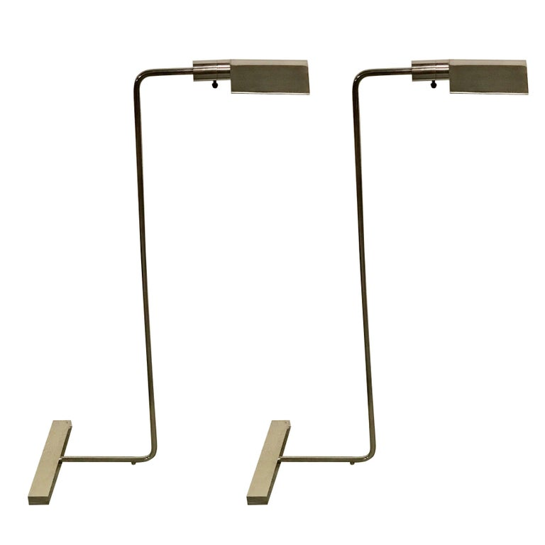 Pair of Cedric Hartman Style Brushed Chrome Floor Lamps