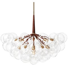 Supra Bubble Chandelier in Dark Brown Leather and Satin Brass by PELLE