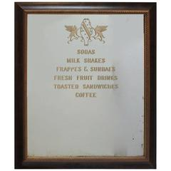 1900s Ice Cream Parlor Etched Mirror