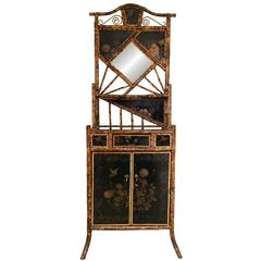 English Bamboo Chinoserie Lacquer Cabinet