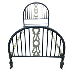 French 19th Century Modern Neoclassical Painted Iron Daybed or Single Bed