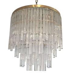 Mid-Century Tiered Murano Glass Chandelier by Venini, Italy, circa 1960