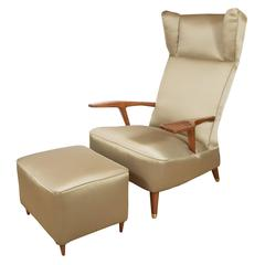 Pair of Large Upholstered Wingback Armchairs
