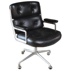 Set of 6 Vintage Black Leather Eames Time Life Swivel Chairs