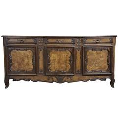 Country French Hand Carved Fruitwood Enfilade Bressan Buffet, Circa 1880