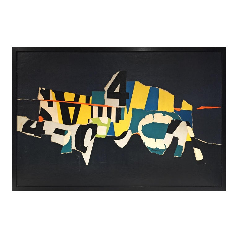 Mid-Century Mixed-Media Modernist Typographic Collage For Sale