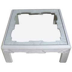 "Square Modern ""Wave"" Pattern Carving White Lacquer Coffee Table"