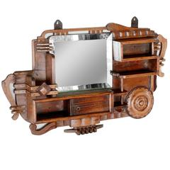 Art Deco Teak Wood Mirror