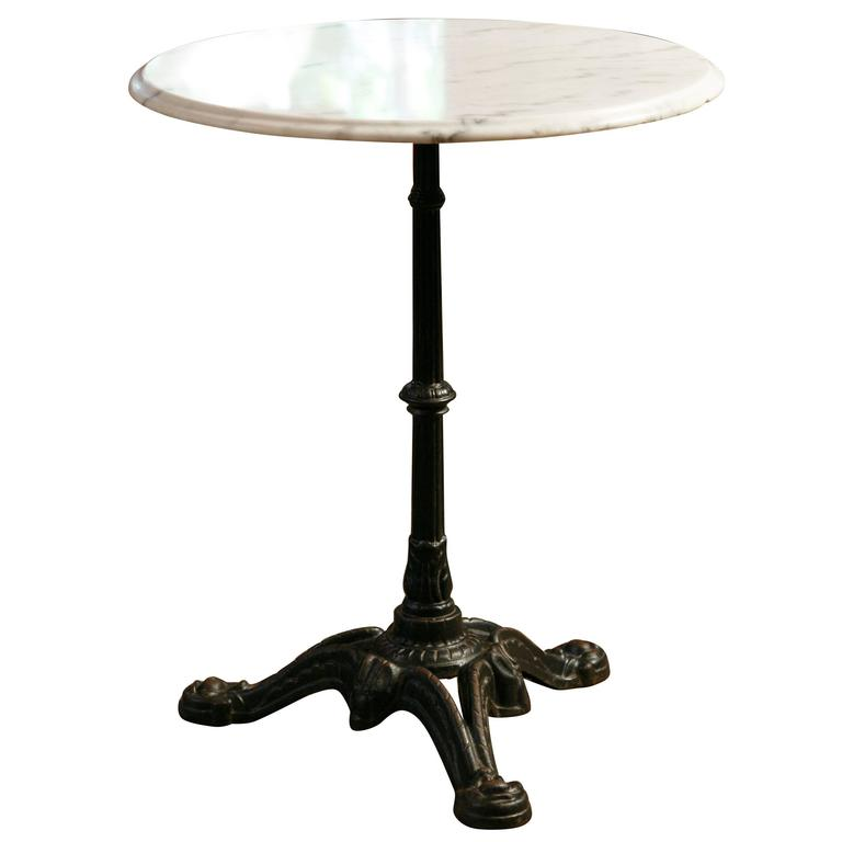 Marble Bistro Accent Table: Pair Of Marble And Cast Iron Bistro Tables From France At
