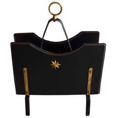 Jacques Adnet Leather and Brass Magazine Rack