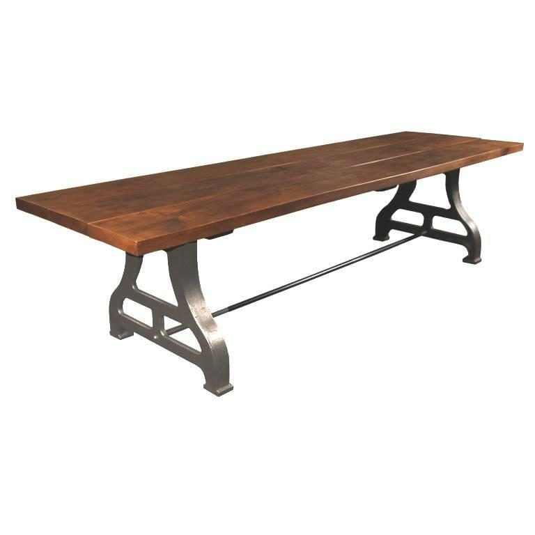 Industrial Plank Top Dining Table - Rough Sawn Pine Wood & Cast Iron Legs