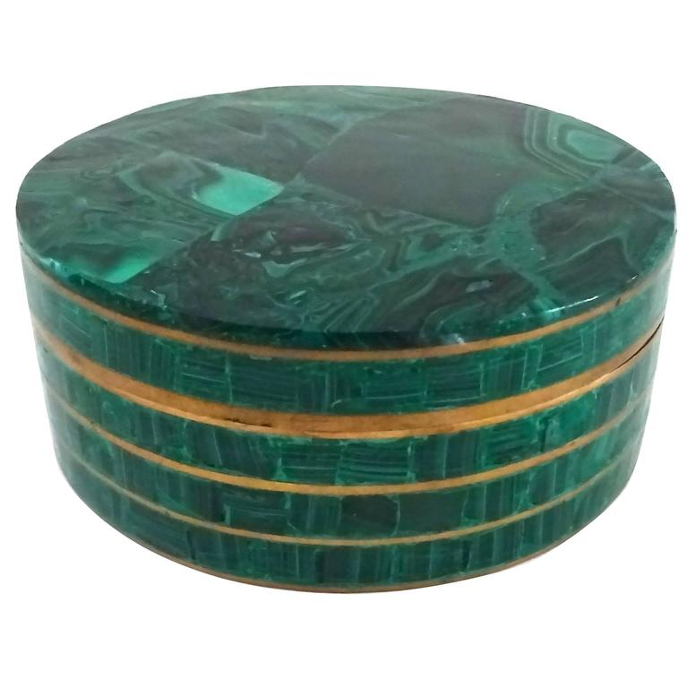 Chic 1950s Malachite and Brass Box 1