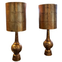Pair of Nardini Brutalist brass patinated ceramic Lamps in Working Condition