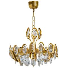 Hollywood Regency Jeweled Crystal and Gilded Chandelier by Palwa