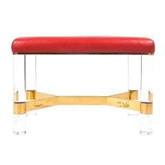 Karl Springer bench or stool in leather, brass and lucite, USA 1970