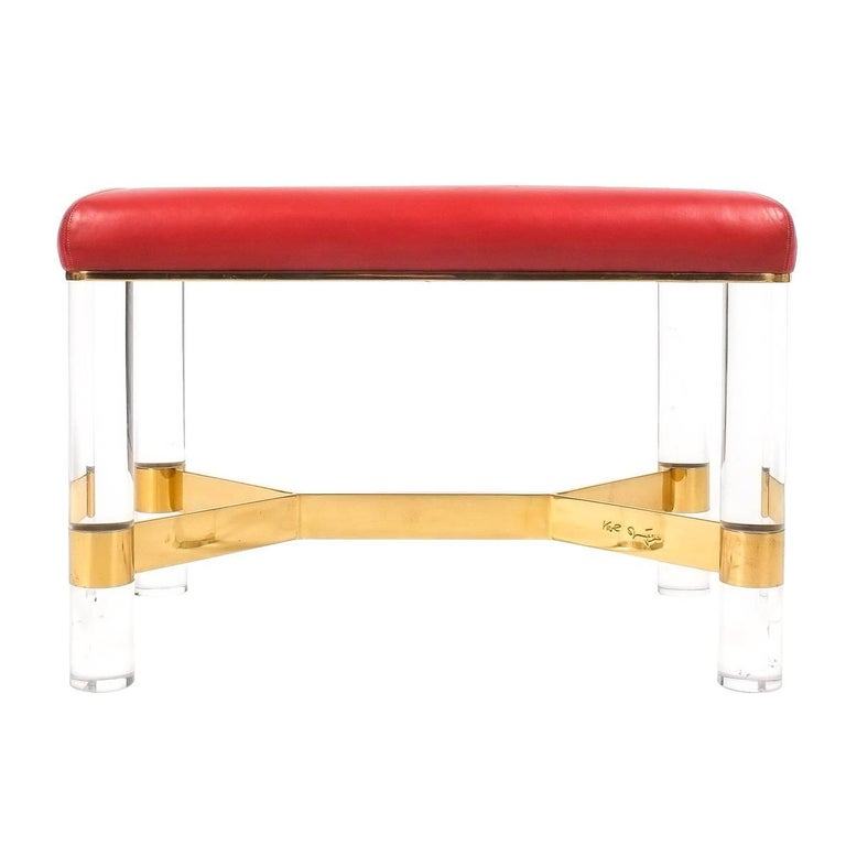 Karl Springer Bench in Leather, Brass and Lucite, USA, 1970