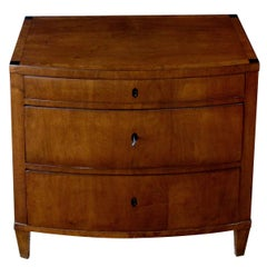 A Handsome Danish Empire 3-Drawer Walnut Bow-Front Commode/Chest w Burlwood Trim