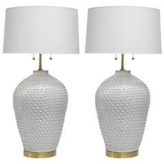 Hegnetslund Denmark Pair of Ceramic Table Lamps Signed, Denmark, 1960s