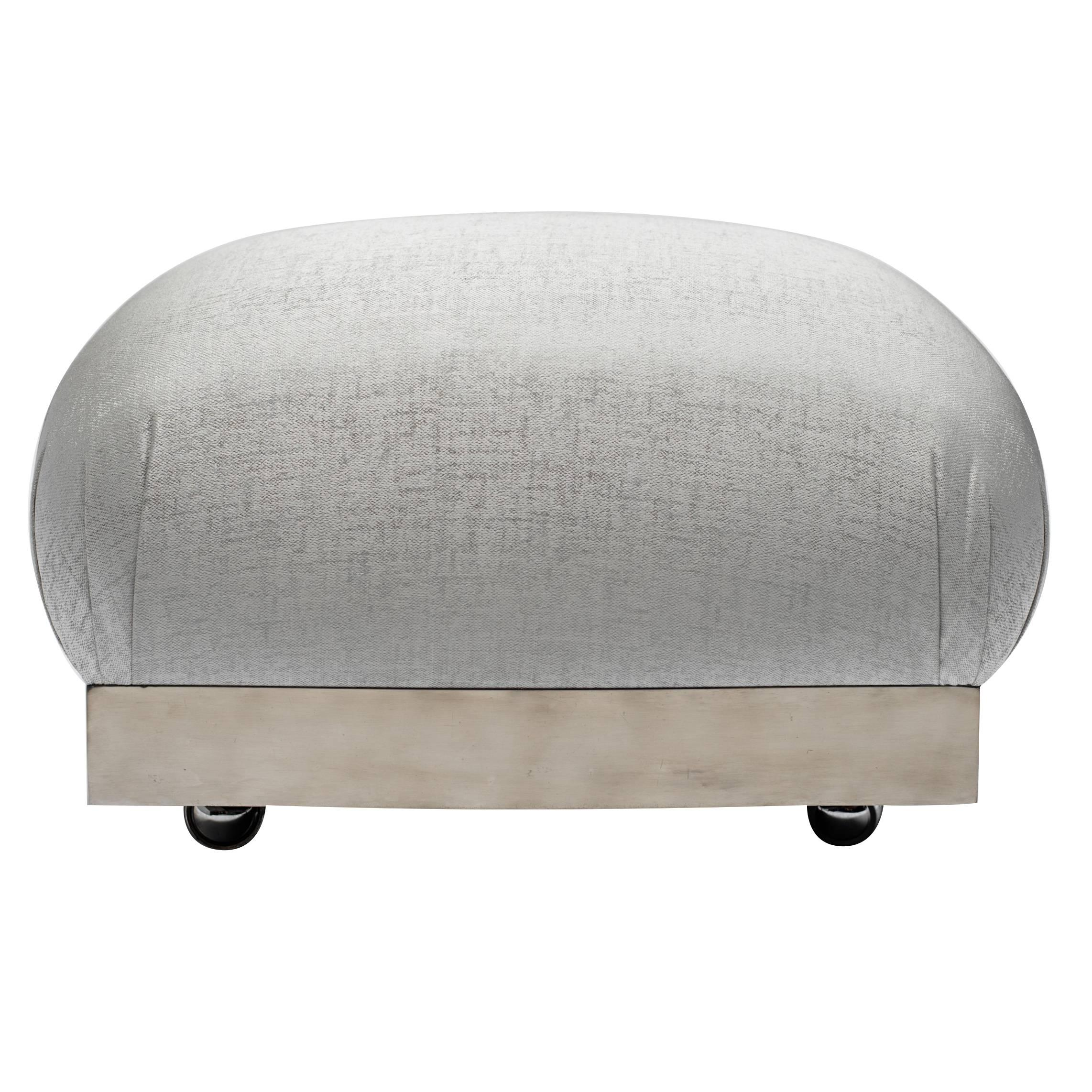 Karl Springer Style Oversized Ottoman or Pouf with Soufflé Design
