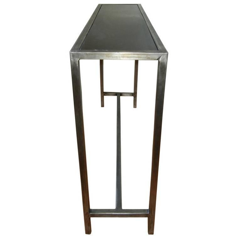 Industrial Steel And Marble Console Table From Belgium For Sale