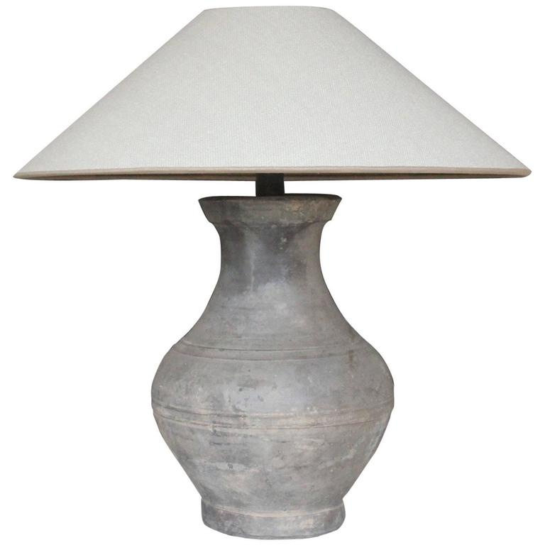 Chinese Han Dynasty Unglazed Vase Antique Table Lamp For Sale