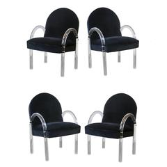 Pair of Pace Lucite Arm/Dining Chairs in Black Velvet (2 sets available)