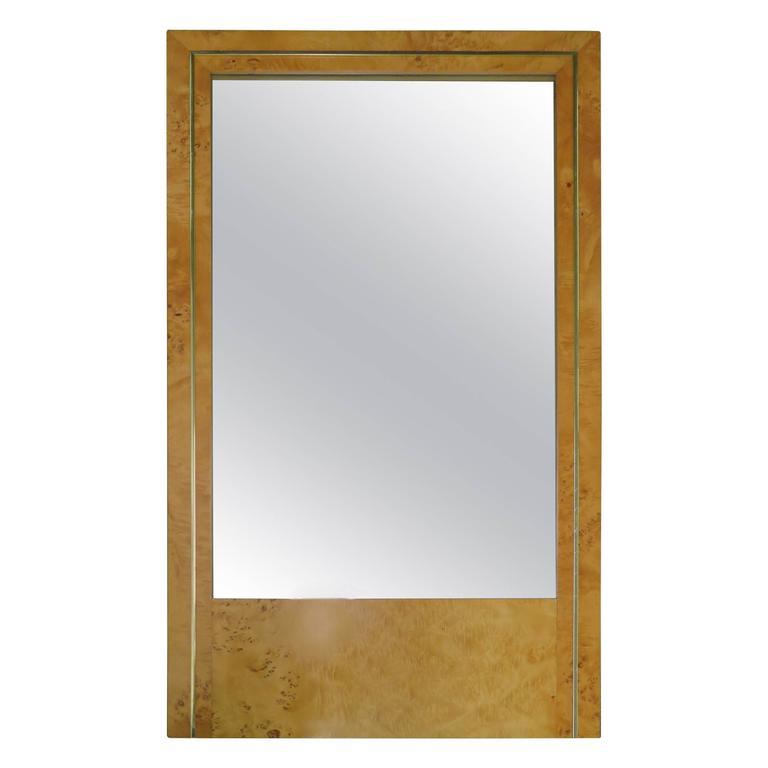 Milo Baughman Style Burled Olivewood Brass Mirror, Mid-Century Modern 1
