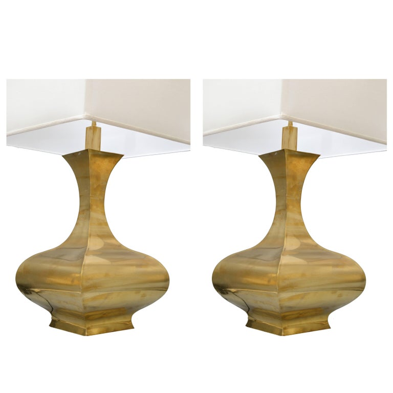 Tall Solid Brass Vessel Shape Table Lamps A Pair For Sale At 1stdibs