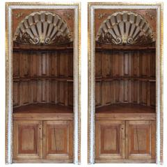 Pair of Magnificent Antique Scallop Shell Curved Book Shelf Cabinets
