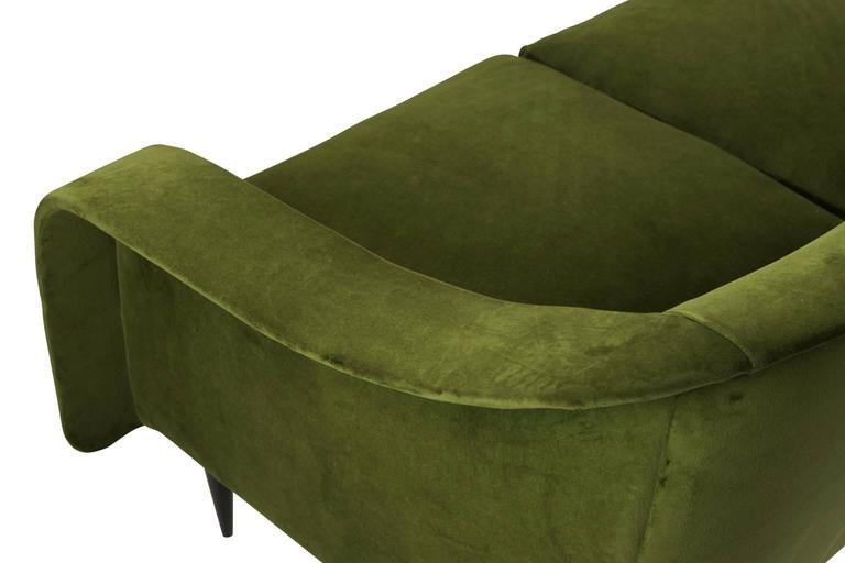 Velvet Brazilian Modern Sofa by Joaquim Tenreiro For Sale