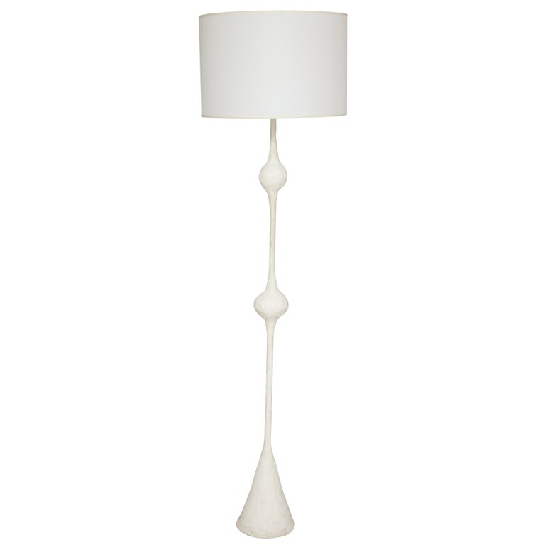 Handcrafted Plaster Floor Lamp/ Torchiere in the Giacometti Manner