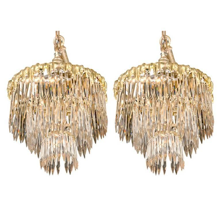 Set Of Two French Triple Tier Chandeliers