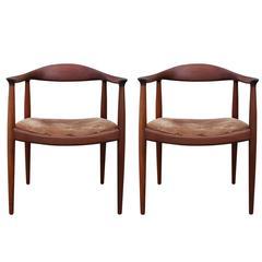 """Pair of Hans Wegner Teak """"the Chair"""" Johannes Hansen"""