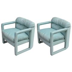 Pair of Drexel Parson Style Fully Upholstered Modern Lounge or Club Chairs